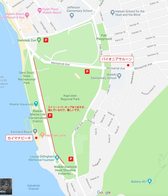 カイマナビーチ周辺のパーキングの地図