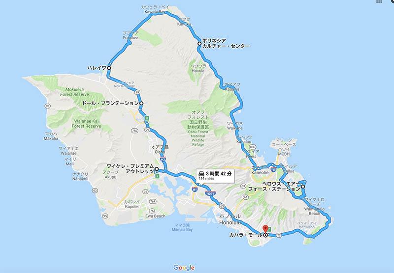 オアフ島一周地図